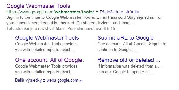 GoogleWebMasterTools ve vyhledávání